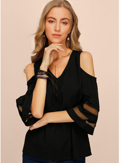 1/2 Sleeves Chiffon Cold Shoulder Blouses