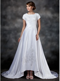 A-Line/Princess Square Neckline Asymmetrical Satin Wedding Dress With Ruffle Lace Beading