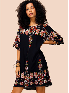 Polyester With Tassel/Print Above Knee Dress