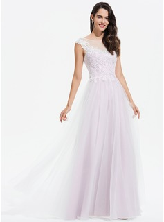 Scoop Neck Floor-Length Tulle Prom Dresses With Lace Sequins