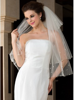 Four-tier Fingertip Bridal Veils With Cut Edge