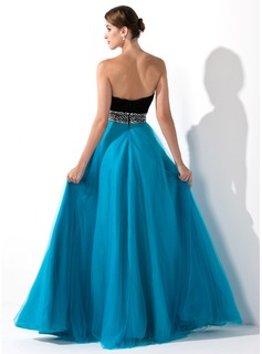 Empire Sweetheart Floor-Length Chiffon Tulle Prom Dress With Ruffle Beading Sequins