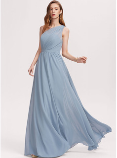 A-Line One-Shoulder Floor-Length Chiffon Evening Dress With Ruffle