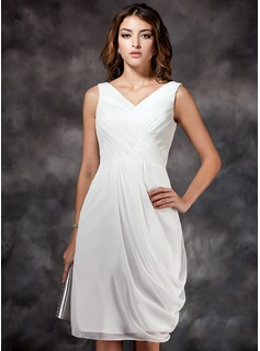 Sheath/Column V-neck Knee-Length Chiffon Bridesmaid Dress