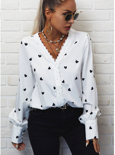 Regular Cotton Blends V-Neck Lace Print Heart Fitted Blouses