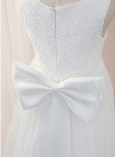 A-Line Floor-length Flower Girl Dress - Tulle/Lace Sleeveless Scoop Neck With Bow(s)