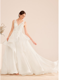 Ball-Gown/Princess V-neck Court Train Wedding Dress With Beading Sequins