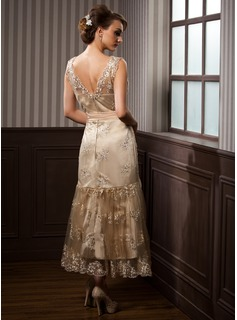 e66df3fbe413 ... Trumpet/Mermaid V-neck Tea-Length Satin Lace Wedding Dress With Sash  Beading