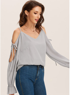 Long Sleeves Polyester Cold Shoulder Blouses