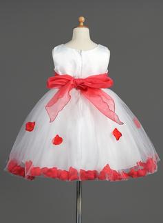 Empire Knee-length Flower Girl Dress - Organza/Satin/Tulle Sleeveless Scoop Neck With Sash/Flower(s)/Bow(s)
