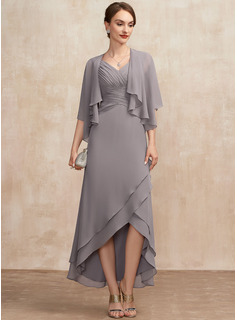 taupe chiffon wrap dress
