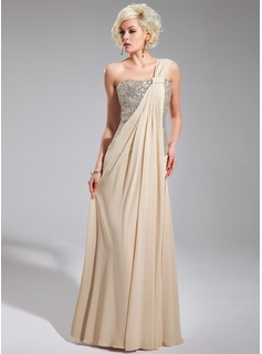 A-Line/Princess One-Shoulder Floor-Length Chiffon Sequined Evening Dress With Ruffle