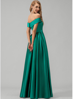 satin evening party dress