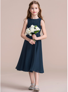 A-Line Scoop Neck Tea-Length Chiffon Junior Bridesmaid Dress With Ruffle