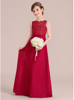 Floor-length Flower Girl Dress - Chiffon Lace Sleeveless Scoop Neck With Bow(s)