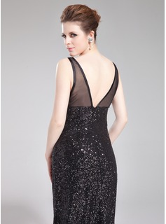 Trumpet/Mermaid V-neck Sweep Train Tulle Sequined Evening Dress