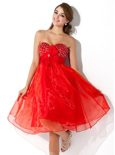 Empire Sweetheart Knee-Length Organza Homecoming Dress With Beading Flower(s) Bow(s)