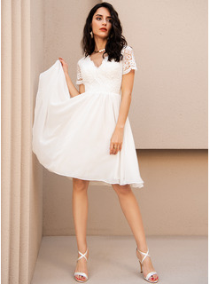 A-Line V-neck Knee-Length Chiffon Cocktail Dress With Lace