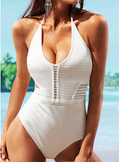 Sexy Solid Color Polyester One-piece