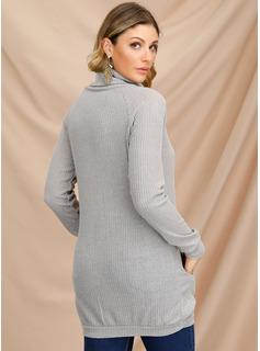 Solid Pocket Polyester Turtleneck High Neck Pullovers Sweater Dresses Above Knee Sweaters