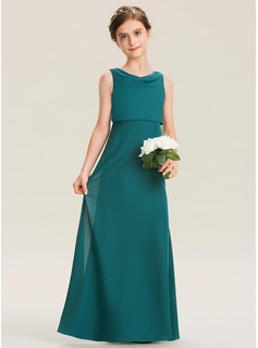 A-Line Cowl Neck Floor-Length Chiffon Junior Bridesmaid Dress With Ruffle