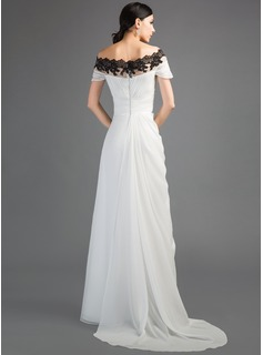 Sheath/Column Off-the-Shoulder Watteau Train Chiffon Evening Dress With Ruffle Appliques Lace