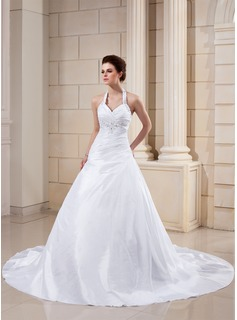 A-Line/Princess Halter Cathedral Train Taffeta Wedding Dress With Ruffle Lace Beading