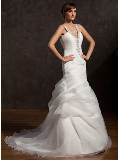 A-Line/Princess V-neck Court Train Organza Wedding Dress With Ruffle Beading