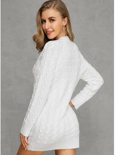 Pulls Tricot à Câble Gros tricot Couleur Unie Polyester Col V Pull-overs Robes pull Pulls