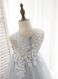 Tea-length Flower Girl Dress - Tulle Lace Sleeveless Scoop Neck