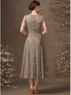A-Line V-neck Tea-Length Chiffon Lace Mother of the Bride Dress