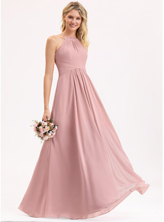 Scoop Neck Floor-Length Chiffon Bridesmaid Dress With Bow(s) Cascading Ruffles