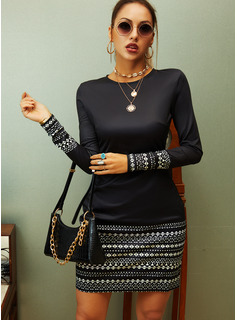 Striped Bodycon Round Neck Long Sleeves Midi Casual Dresses