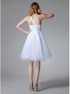 Empire One-Shoulder Knee-Length Organza Homecoming Dress With Ruffle Beading