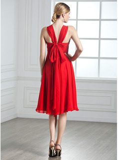 Empire V-neck Knee-Length Chiffon Cocktail Dress With Ruffle Bow(s)