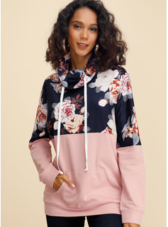 Long Sleeves Cotton Polyester High Neck Blouses