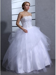 Ball-Gown Sweetheart Floor-Length Tulle Wedding Dress With Ruffle Lace Beading Sequins