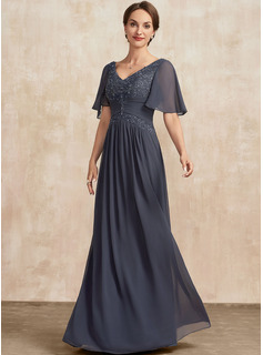 A-Line V-neck Floor-Length Chiffon Lace Mother of the Bride Dress With Ruffle Beading