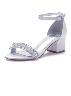 Women's Satin Chunky Heel Sandals With Rhinestone Pearl