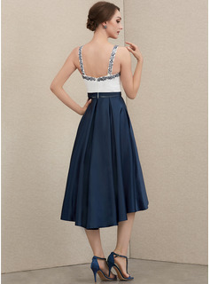 A-Line Sweetheart Asymmetrical Satin Cocktail Dress With Beading Sequins Bow(s) Pockets