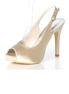 Women's Silk Like Satin Stiletto Heel Peep Toe Platform Pumps Sandals Slingbacks With Buckle