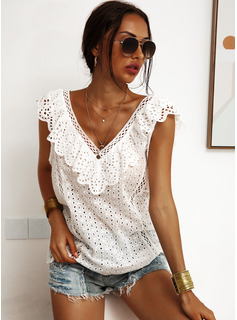 Regular Cotton Blends V-Neck Lace Solid 3XL L S M XL XXL Blouses