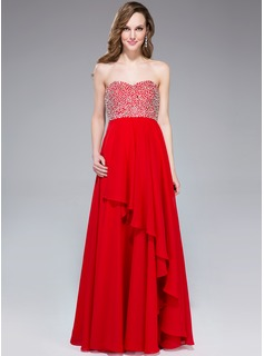 Empire Sweetheart Floor-Length Chiffon Prom Dresses With Beading Sequins Cascading Ruffles