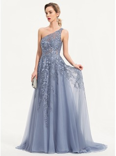A-Line One-Shoulder Sweep Train Tulle Evening Dress