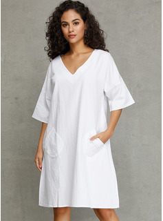 Linen With Solid Knee Length Dress