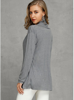 Couleur Unie Coton Col V Pull-overs Pulls