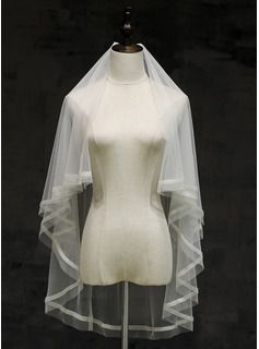 Two-tier Cut Edge Fingertip Bridal Veils With Rhinestones