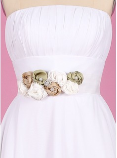 Elegant Taffeta/Organza Sash With Flower