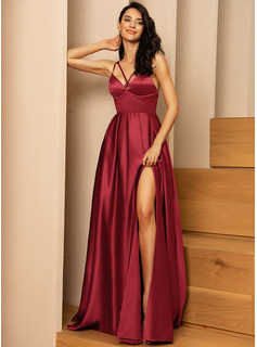 Burgundy V-Neck Sleeveless Maxi Dresses
