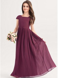 Square Neckline Floor-Length Chiffon Junior Bridesmaid Dress With Lace Bow(s) Pleated